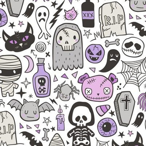 Halloween Doodle Skulls,Spiders,Skeleton,Bat, Ghost,Web, Zombies  Purple on White