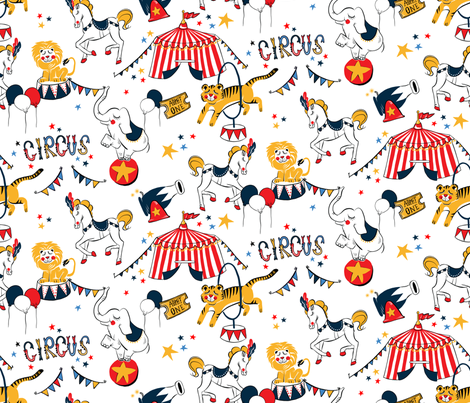Retro Circus fabric by willow_and_luna on Spoonflower - custom fabric