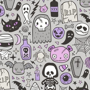 Halloween Doodle Skulls,Spiders,Skeleton,Bat, Ghost,Web, Zombies  Purple on Light Grey