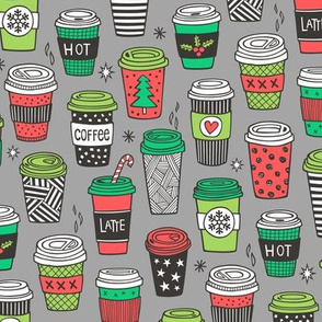 Christmas Holidays Coffee Latte Geometric Patterned Black & White Red on Grey