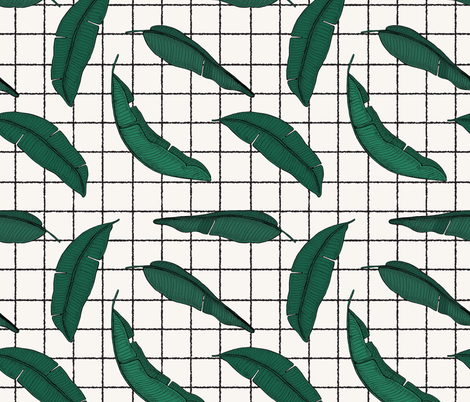 URBAN_GARDEN_LEAF_GRID fabric by holli_zollinger on Spoonflower - custom fabric