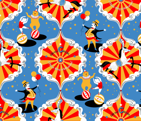 Life Is a Circus... a Three-Ring Celebration! fabric by hootenannit on Spoonflower - custom fabric