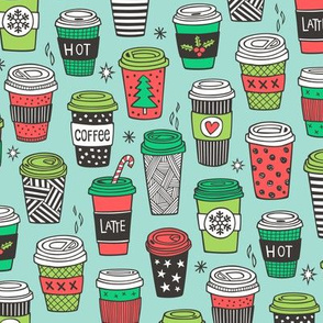 Christmas Holidays Coffee Latte Geometric Patterned Black & White Red on  Mint Green