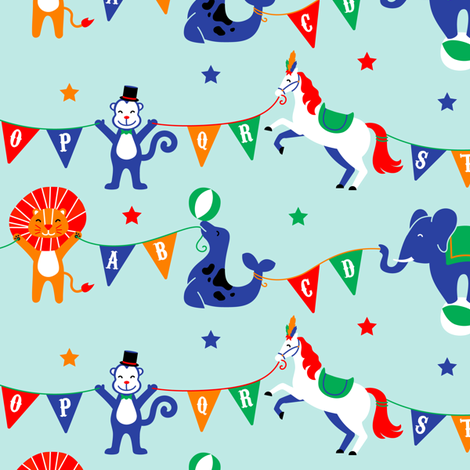 Circus Animals ABCs on Blue fabric by kritterstitches on Spoonflower - custom fabric