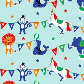 Circus Animals ABCs on Blue