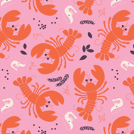 Bouillabaisse Lobsters fabric by zesti on Spoonflower - custom fabric