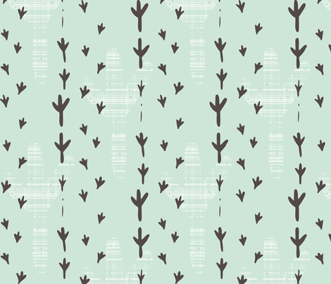 bird tracks mint fabric by mrshervi on Spoonflower - custom fabric