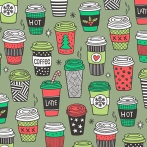 Christmas Holidays Coffee Latte Geometric Patterned Black & White Red on Olive Green