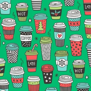 Christmas Holidays Coffee Latte Geometric Patterned Black & White Red on Green