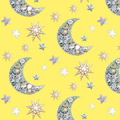 moon and stars   / yellow Vintage button