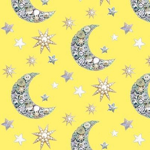 Yellow  Vintage buttons // moon and stars   / yellow Vintage button