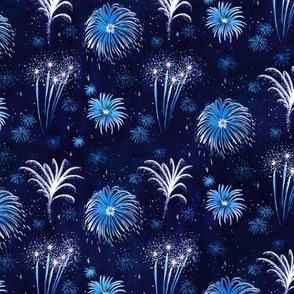 Summer Fireworks Show in dark blue