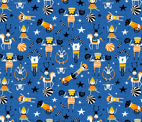 Under The Big Top  - Whimsical Circus Blue  fabric by heatherdutton on Spoonflower - custom fabric