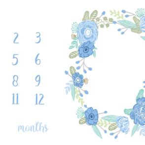 "56"" blue floral milestone blanket"