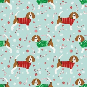beagle christmas sweater fabric peppermint stick candy cane snowflakes dog fabric - lite blue