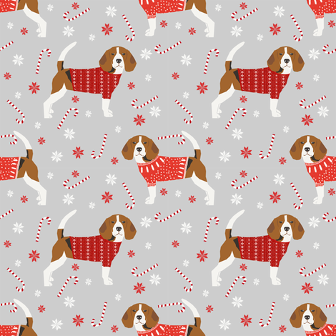 2cb47353778f beagle christmas sweater fabric peppermint stick candy cane snowflakes dog  fabric - grey fabric by petfriendly