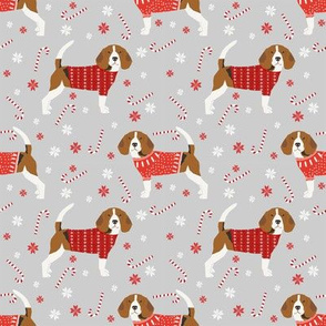 beagle christmas sweater fabric peppermint stick candy cane snowflakes dog fabric - grey