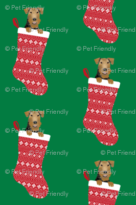 airedale christmas stocking green