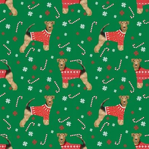 airedale xmas sweater green