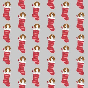 beagle stocking fabric cute beagles dog design xmas holiday christmas fabric - grey