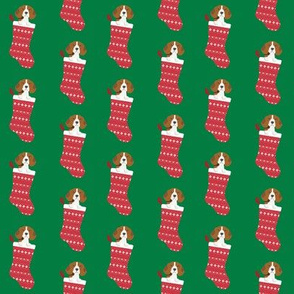 beagle stocking fabric cute beagles dog design xmas holiday christmas fabric - medium green