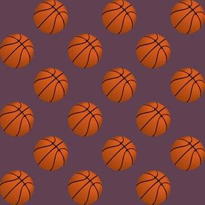 One Inch Basketball Balls on Eggplant Purple