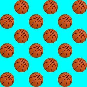 One Inch Basketball Balls on Aqua Blue