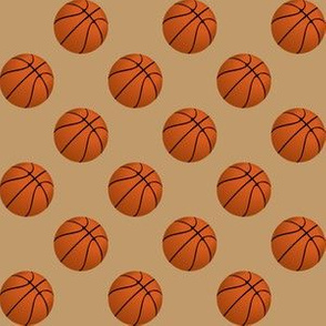 One Inch Basketball Balls on Camel Brown