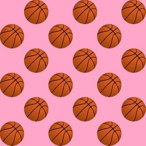One Inch Basketball Balls on Carnation Pink