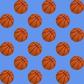 Basketball Balls on Cornflower Blue