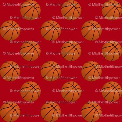 One Inch Basketball Balls on Dark Red