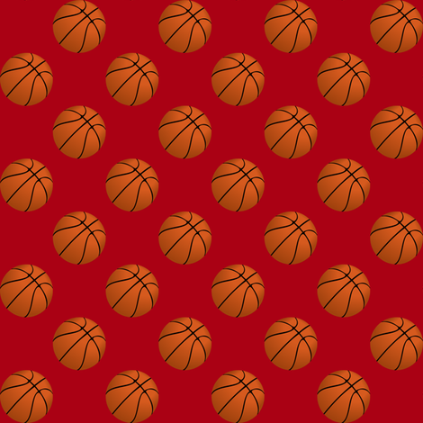 One Inch Basketball Balls on Dark Red fabric by mtothefifthpower on Spoonflower - custom fabric