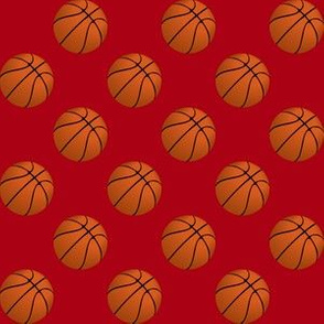 One Inch Basketball Balls on Dark Red