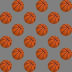 One Inch Basketball Balls on Medium Gray