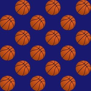 One Inch Basketball Balls on Midnight Blue