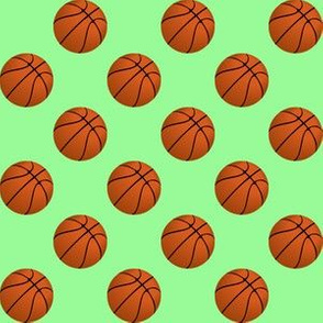 One Inch Basketball Balls on Mint Green