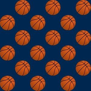 One Inch Basketball Balls on Navy Blue