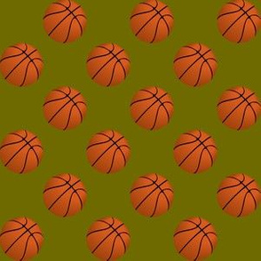 One Inch Basketball Balls on Olive Green