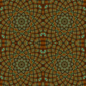 Brown Green Weave Kaleidoscope Pattern
