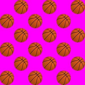 One Inch Basketball Balls on Pink