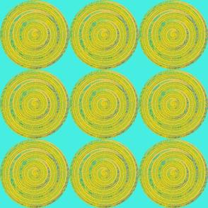 Turquoise Blue Yellow Circles Medallion