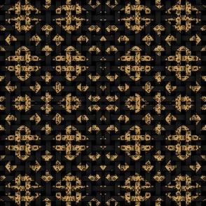 Diamond Leopard Print Black Weave