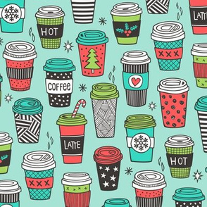 Christmas Holidays Coffee Latte Geometric Patterned Black & White Mint Red on Mint Green