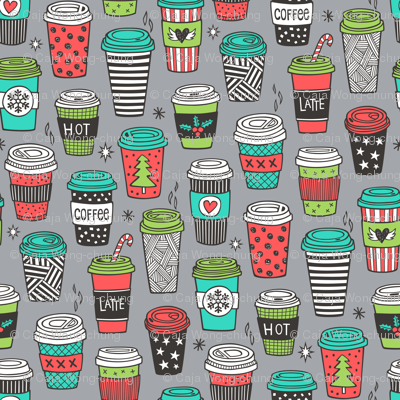 Christmas Holidays Coffee Latte Geometric Patterned Black & White Mint Green Red on  Dark Grey