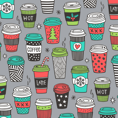 Christmas Holidays Coffee Latte Geometric Patterned Black & White Mint Green Red on  Dark Grey fabric by caja_design on Spoonflower - custom fabric