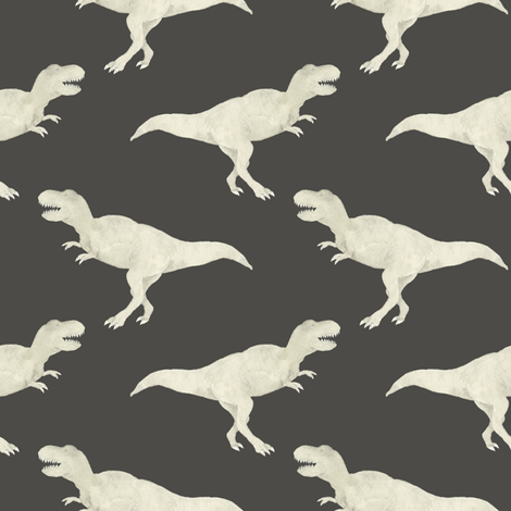 T rex grey fabric mintpeony spoonflower for Grey dinosaur fabric
