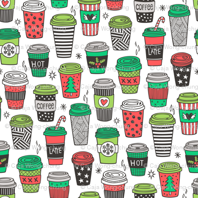 Christmas Holidays Coffee Latte Geometric Patterned Black & White Red on White