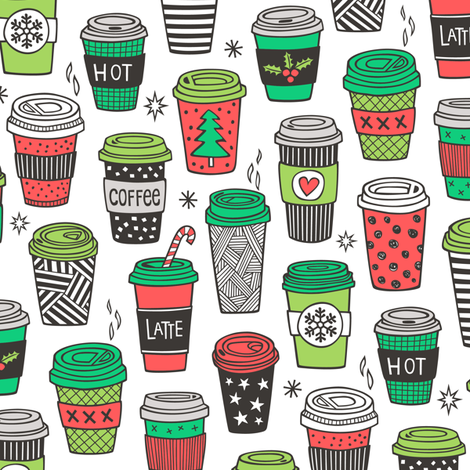Christmas Holidays Coffee Latte Geometric Patterned Black & White Red on White fabric by caja_design on Spoonflower - custom fabric