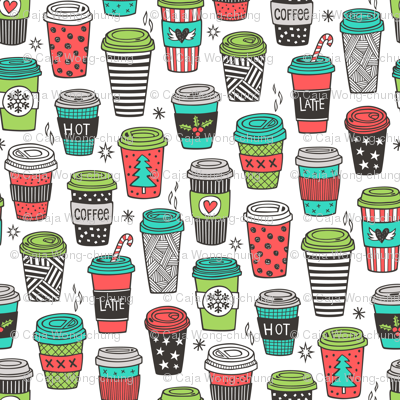 Christmas Holidays Coffee Latte Geometric Patterned Black & White Red Mint Green on White