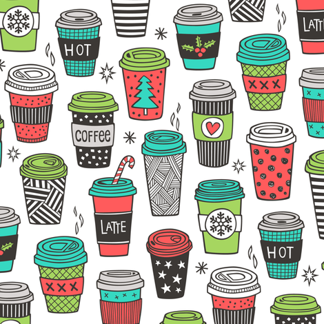 Christmas Holidays Coffee Latte Geometric Patterned Black & White Red Mint Green on White fabric by caja_design on Spoonflower - custom fabric